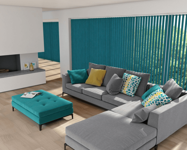 Turquoise color in the living room design