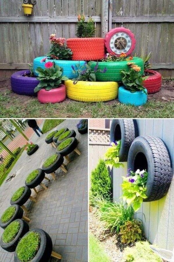 Using car tires to decorate the garden
