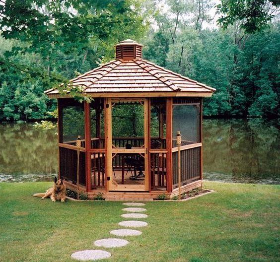 Wooden arbors for a summer residence