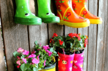 do not rush to throw out unnecessary rubber boots, because they can be used in the country as a house for flowers