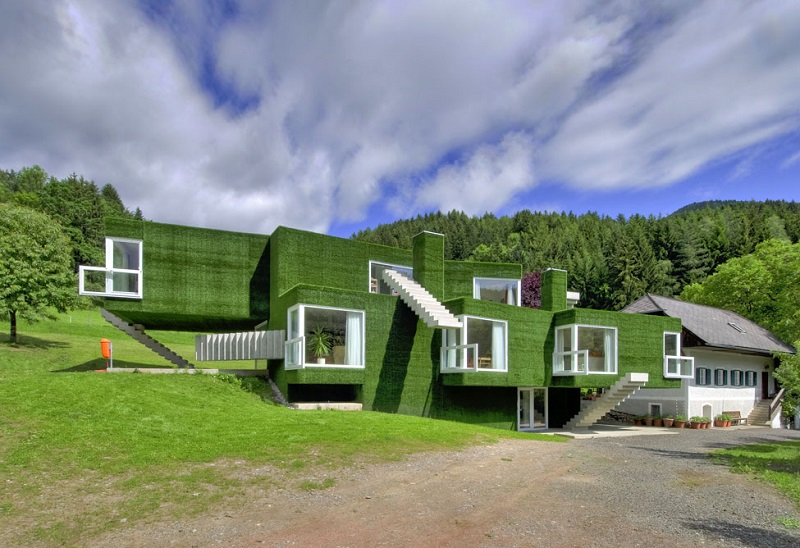 house covered with artificial grass Astroturf