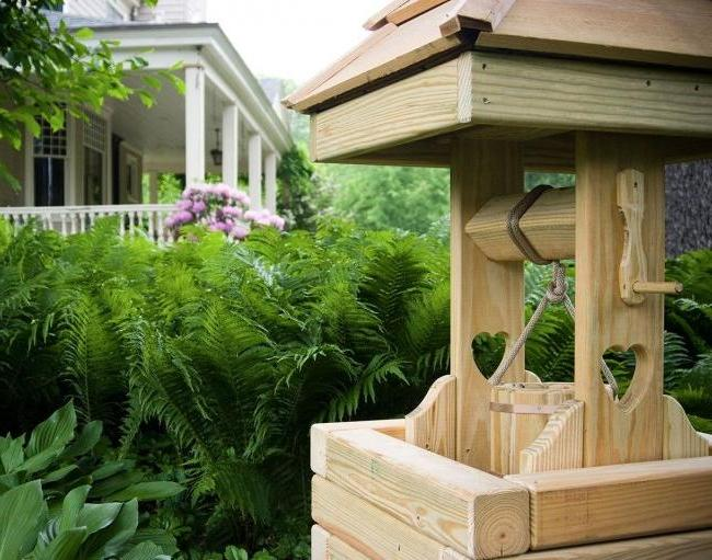 house for a well from a tree is appreciated by environmental friendliness of material, availability, beauty and durability