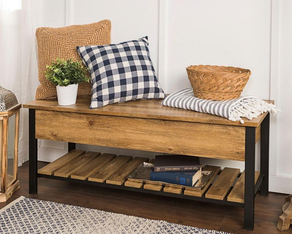 natural wood small benches for hallway