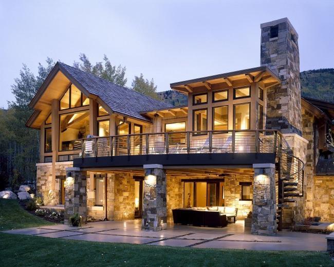 Frame house with stone siding finish
