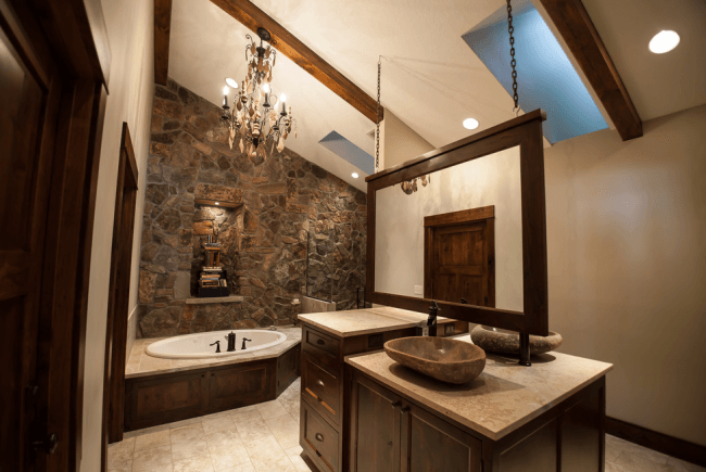 Stone washbasins in a neoclassical luxury bath