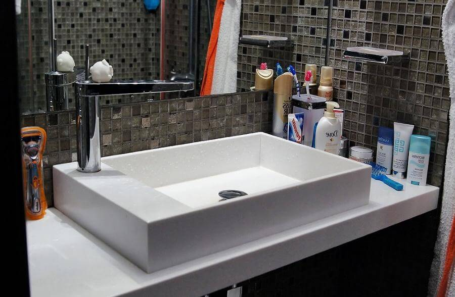 Stylish duo of sink and countertop made of acrylic stone