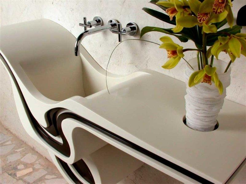 acrylic stone sink will become a highlight of the bathroom interior.