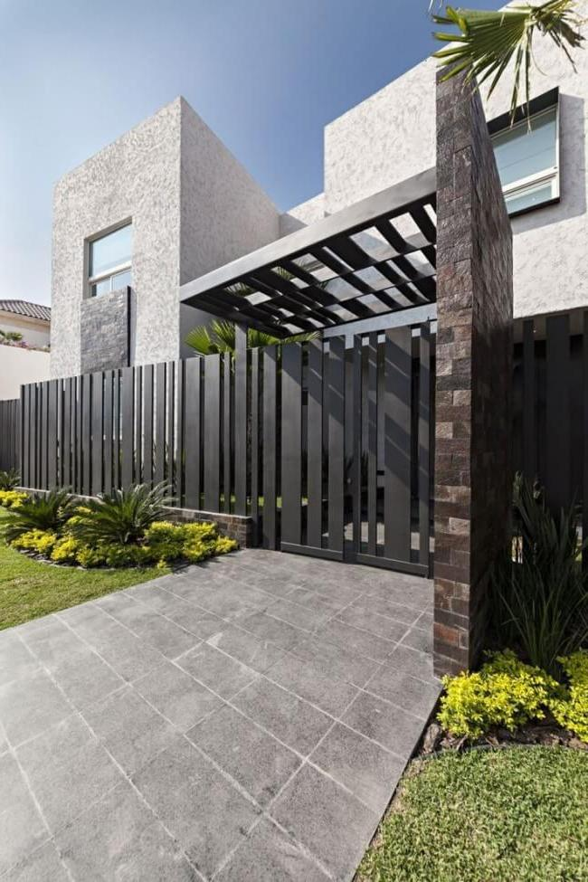 A picket fence is used for fencing residential and industrial facilities