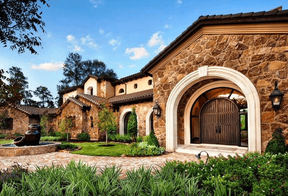 A wrought-iron door looks great at the entrance of a Mediterranean-style house