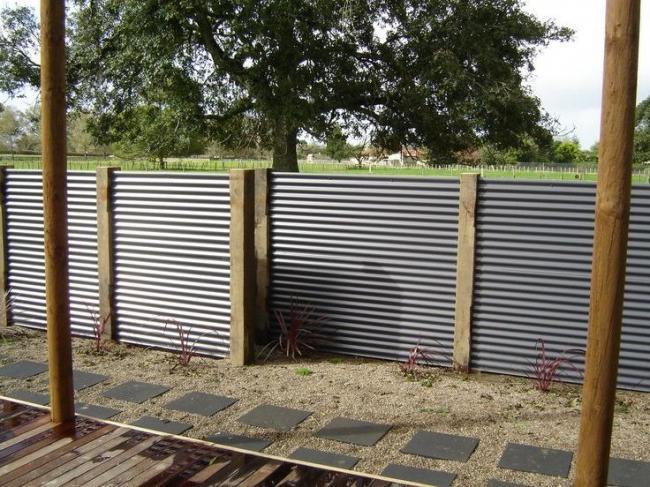 Beautiful fence made of corrugated board