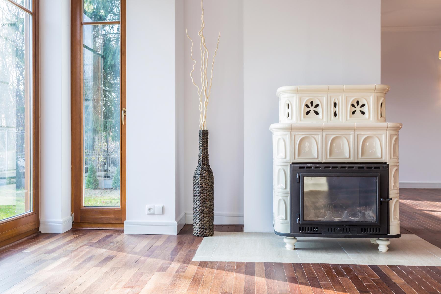 Built in Ceramic Mantel Around Bio Fire