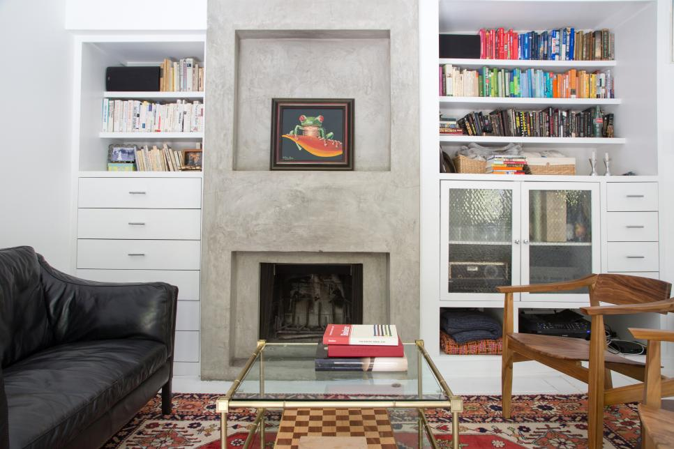 Built in Recessed Concrete Fireplace and Mantel