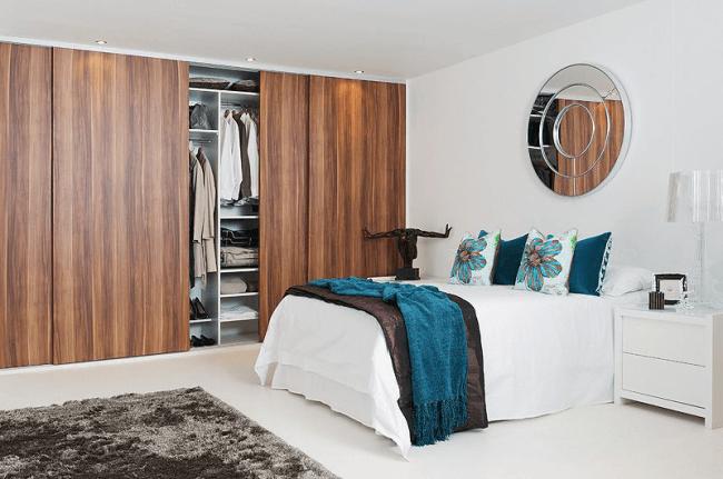 Built-in furniture set made of natural materials