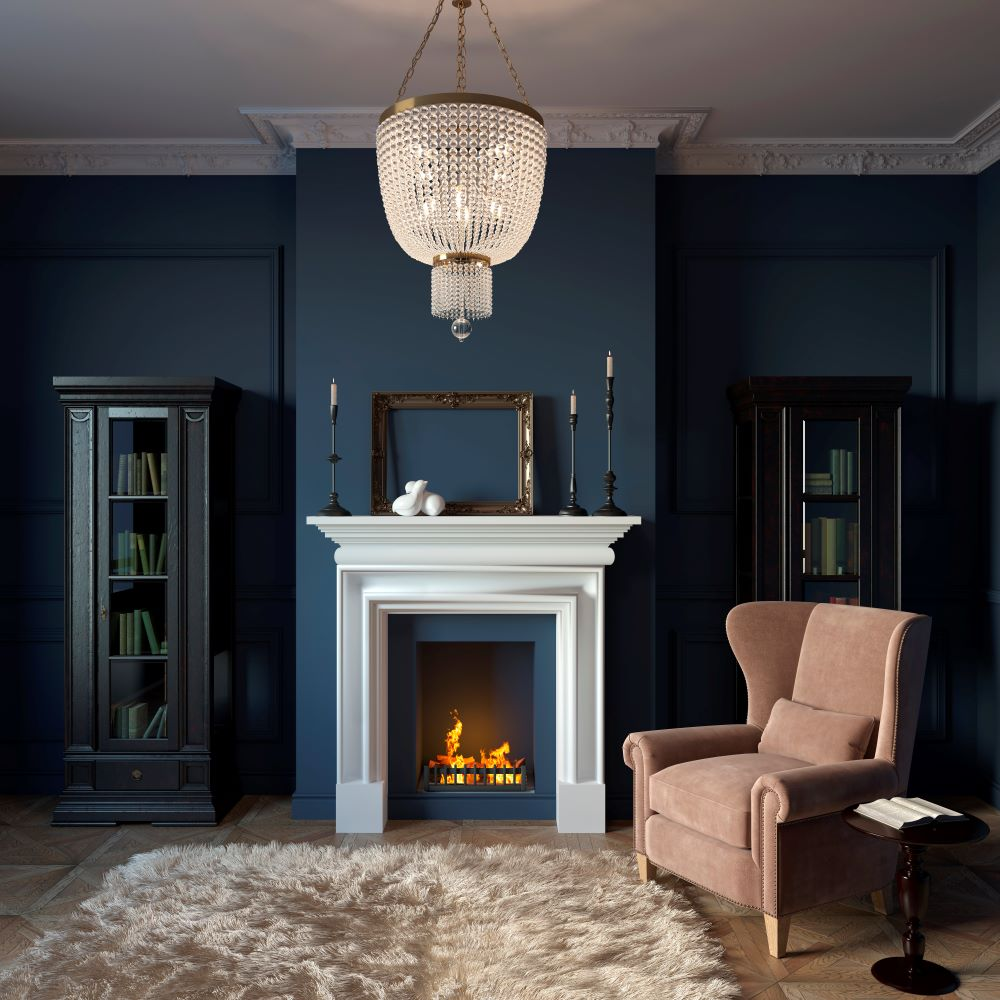 Deep Moody Room with Bright White Mantelpiece