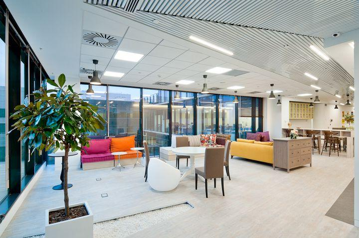 Economical, powerful and bright LED panels can easily replace raster lights in the office