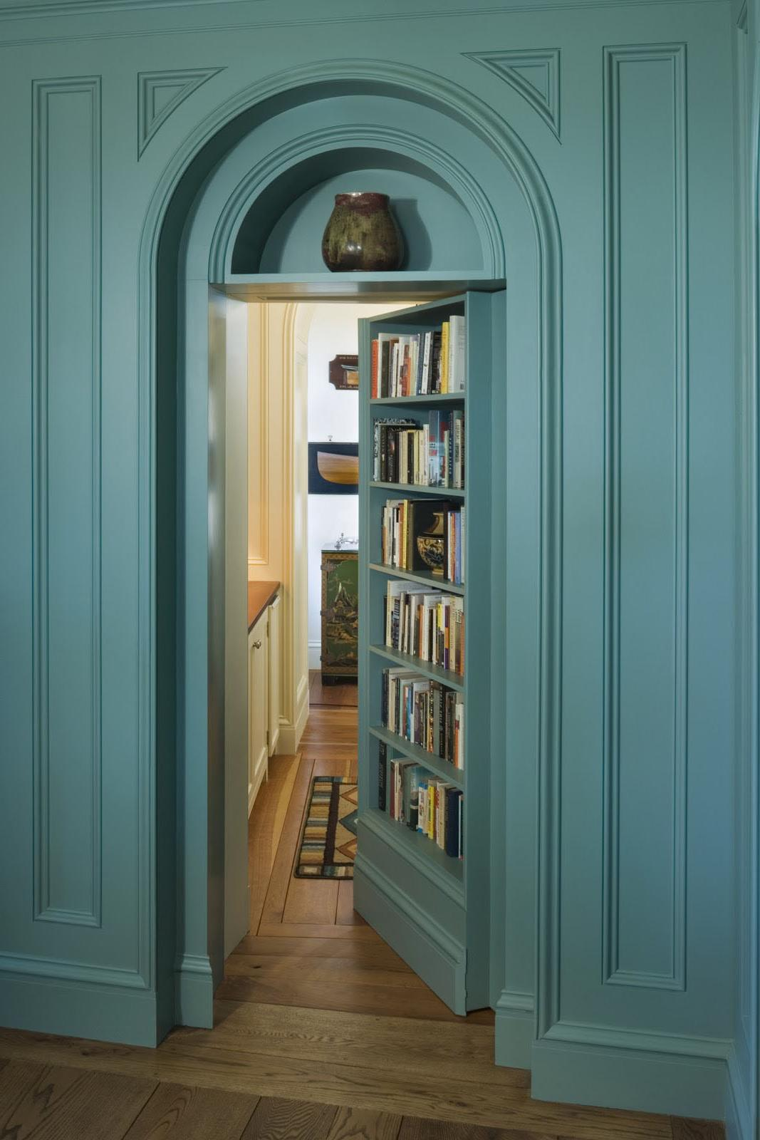 Hidden door with shelves