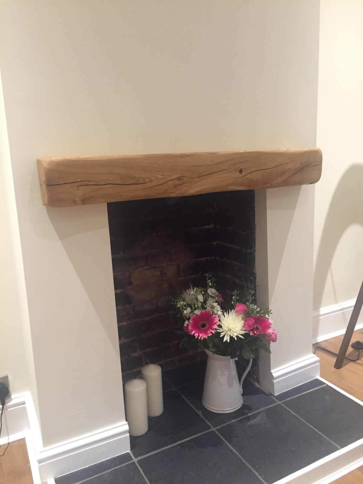 Log Mantel Over Faux Fireplace
