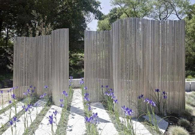 Metal picket fence as a decorative element