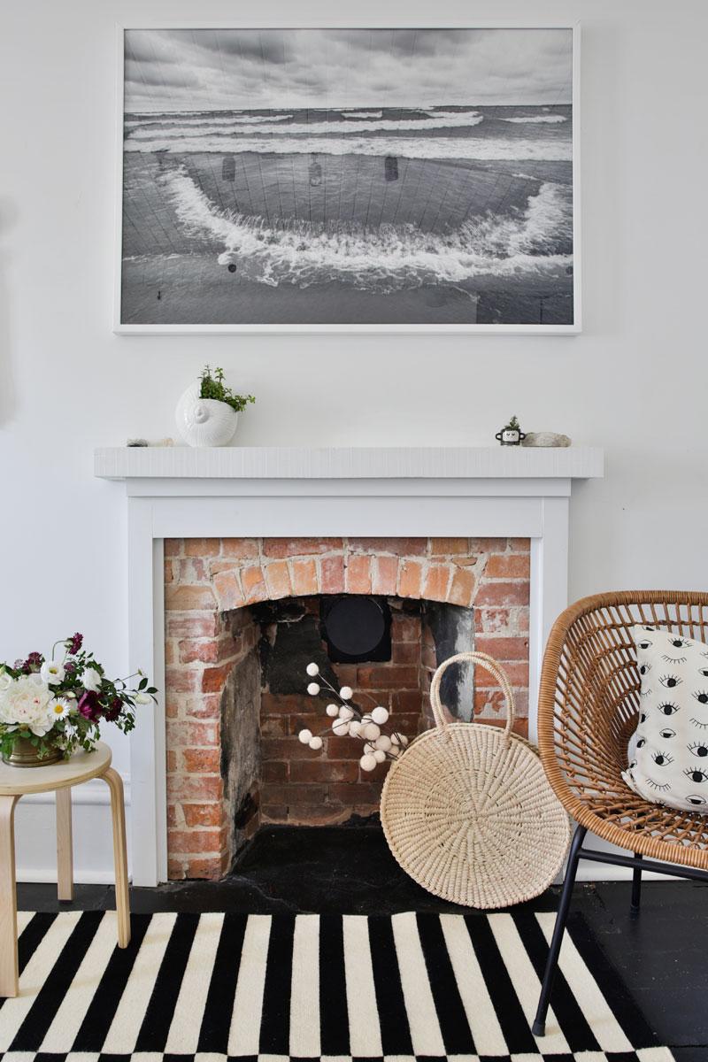 Moulded Mantelpiece Around Original Red Brick