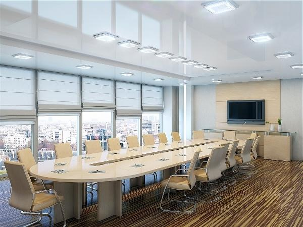 Office space lighting with overhead LED ceiling lights