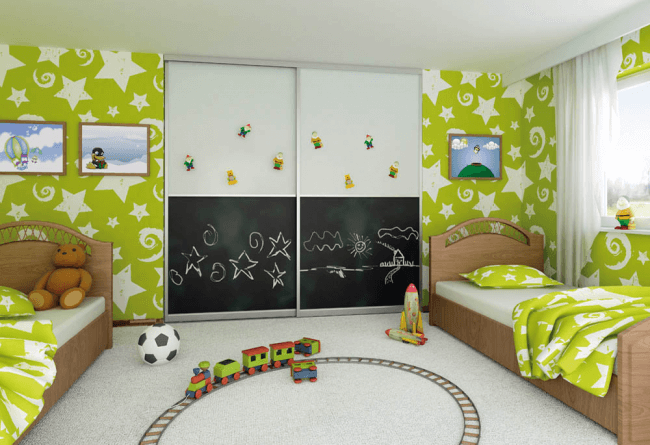 Original design of built-in furniture in a room for two children