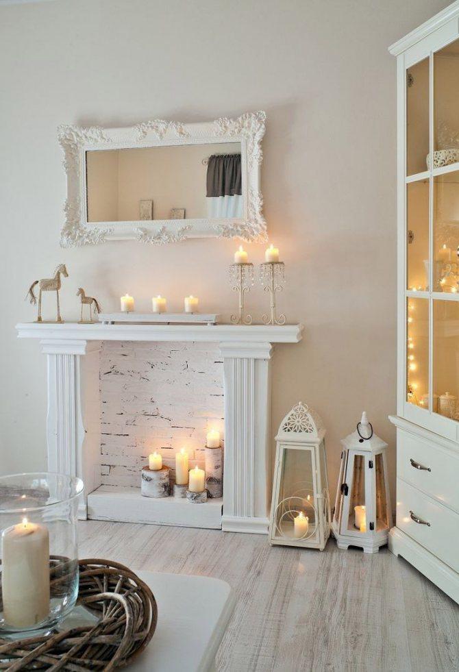 Peaceful White Fake Fireside Scene