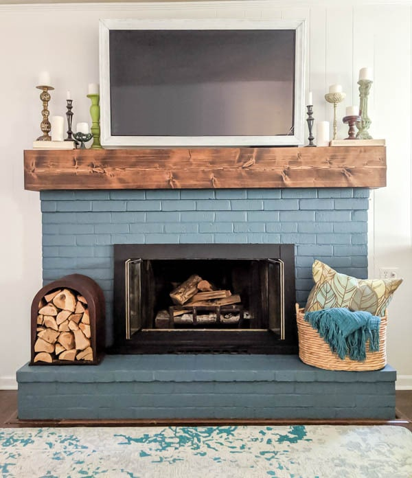Powder Blue Fireplace with Thick Timber Mantel