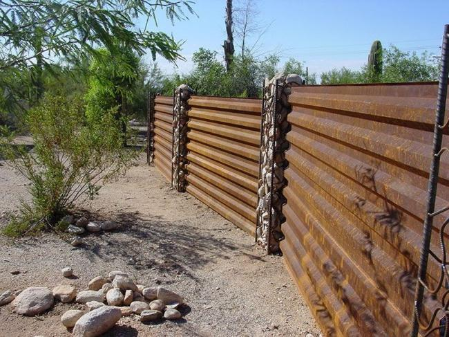 Rustic corrugated sheet fence