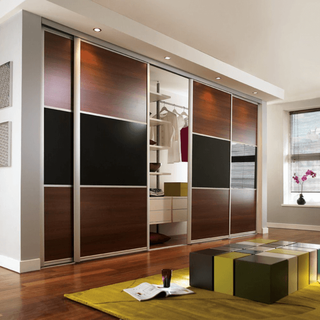 Sliding doors allow installation anywhere in the room
