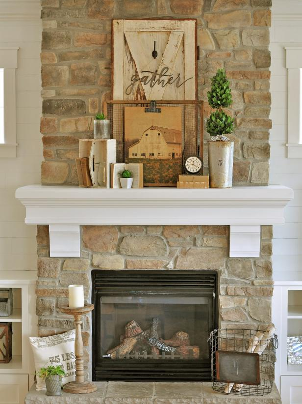 Timber Mantel on Exposed Stone