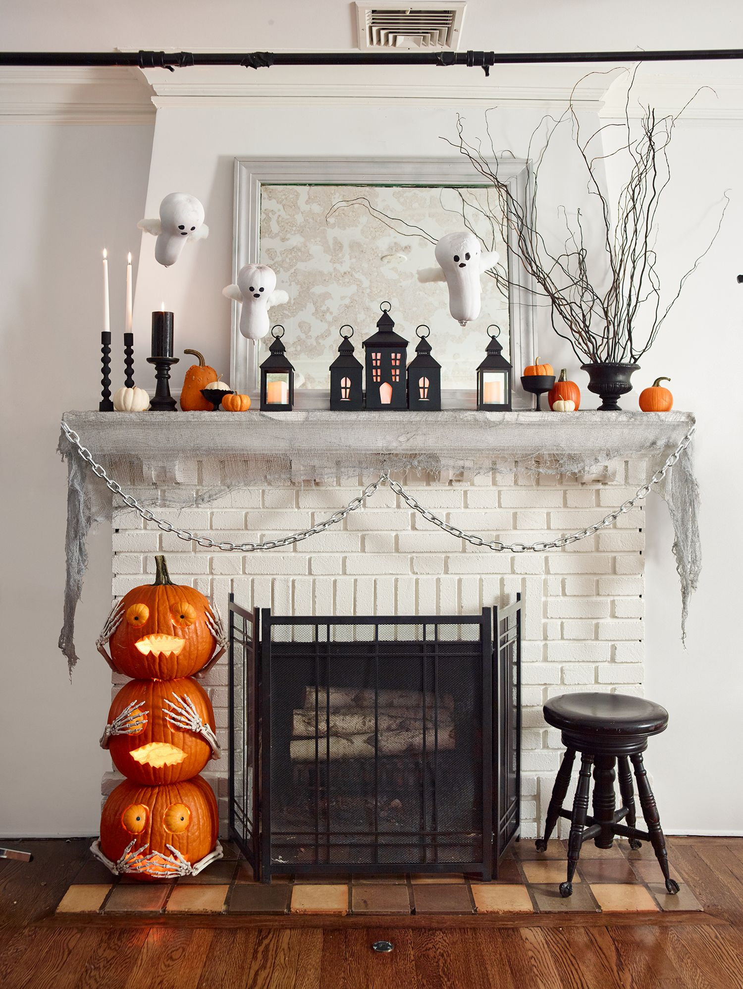 White Concrete Mantel Sitting on Painted Brick