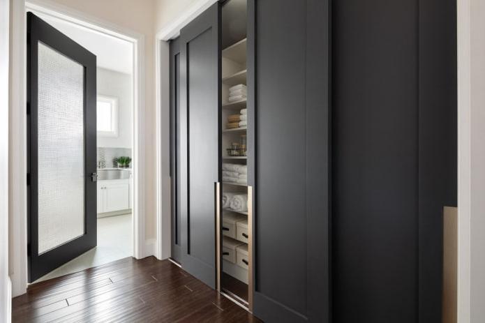 built-in wardrobe in graphite color,