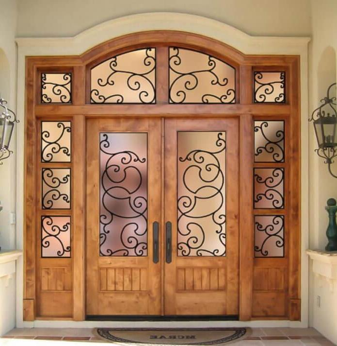 entrance doors with wrought iron and glass