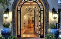 wood and wrought iron entry doors