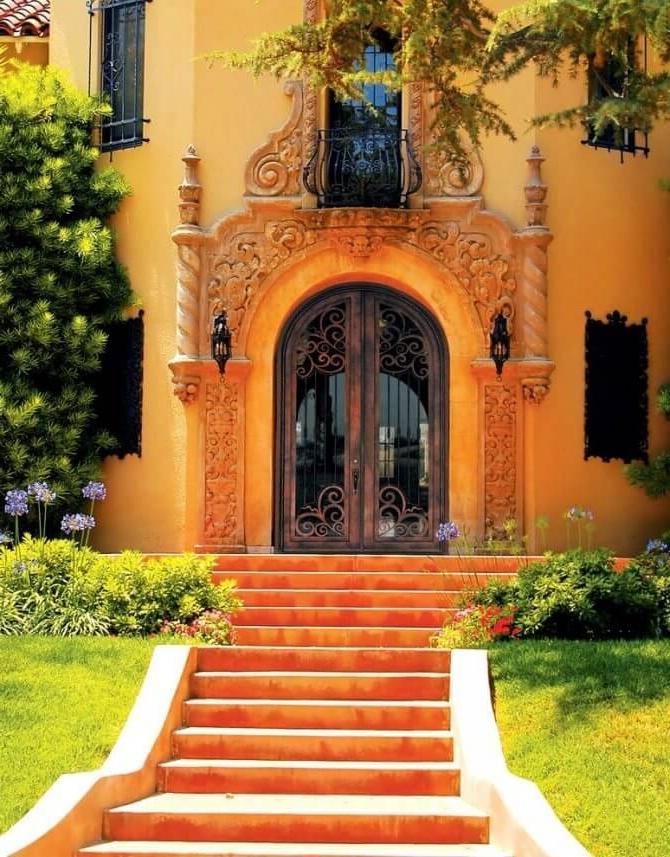 wrought-iron door can be supplemented with metal window bars