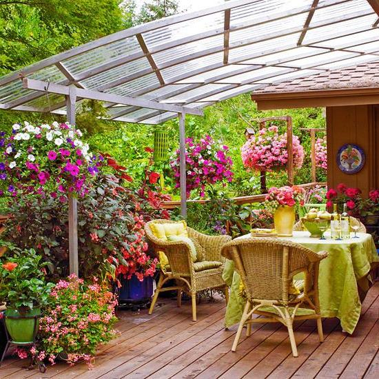 A polycarbonate gazebo is built quite easily and quickly