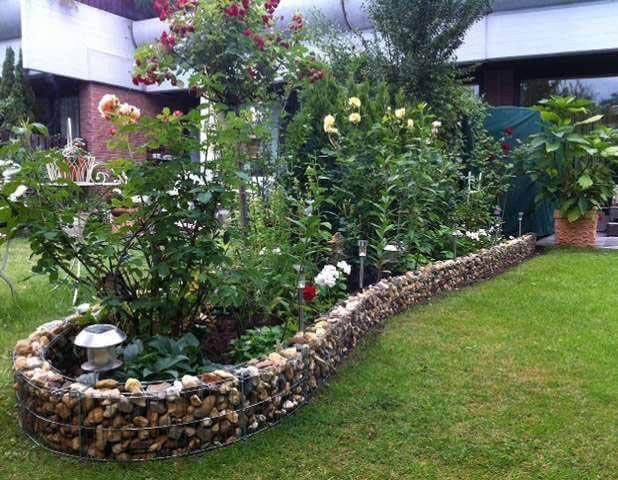 A rounded flower bed of