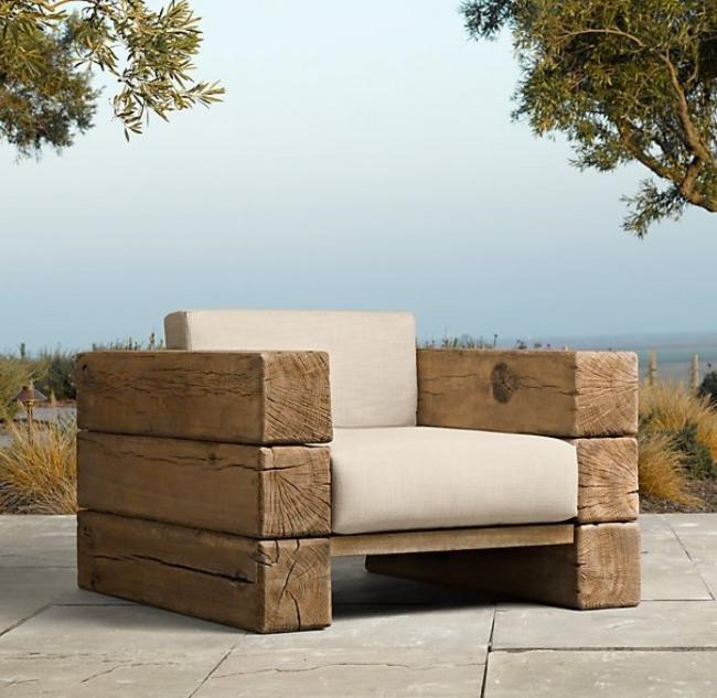 Chic chair made of logs