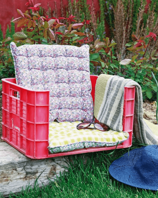 Comfortable chair made of plastic containers