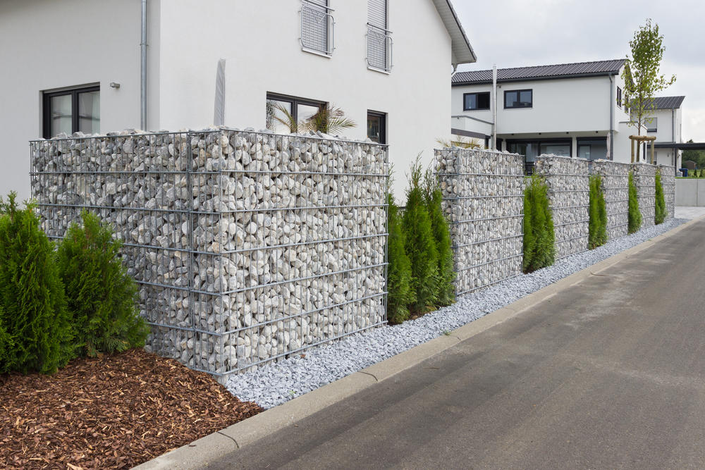 Decorative fence made of gabions