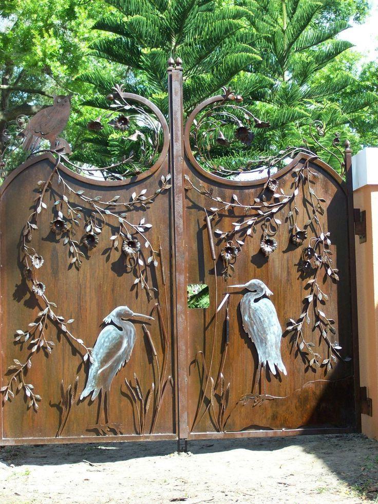 Decorative metal swing gates