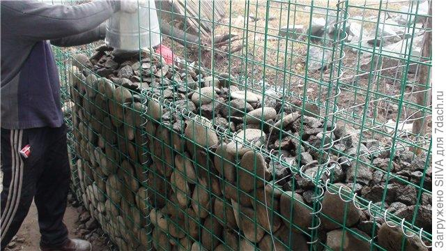 Filling the gabion with stones