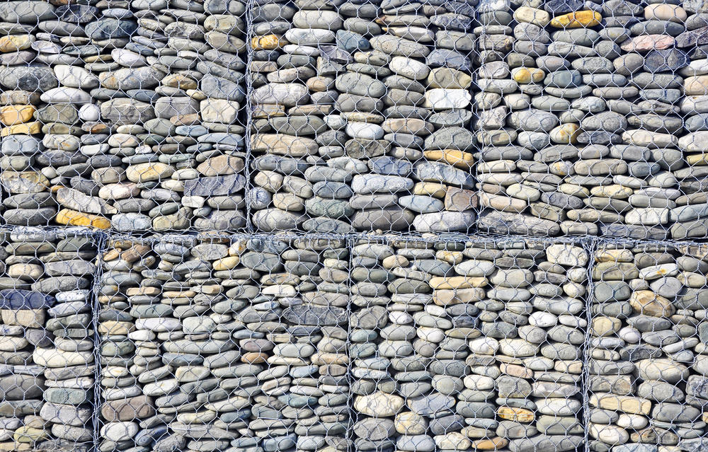 Flat stones in gabions