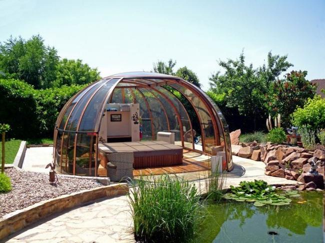 Having closed in such a polycarbonate gazebo, you can take a break from the outside fuss