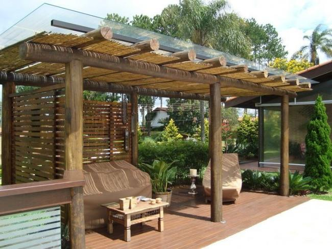 Hawaiian style gazebo with solid polycarbonate roof