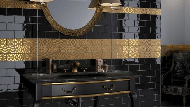 Luxurious bathroom in black