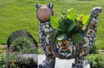 Mosaic is a great solution for garden sculpture decoration