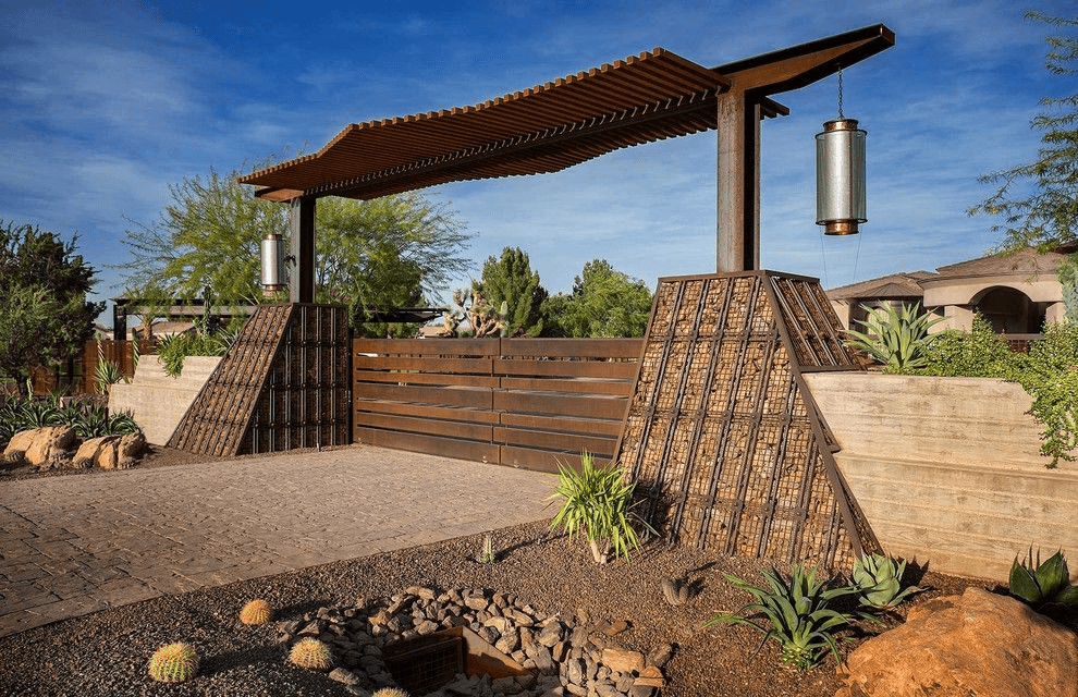 Sloping gabions can be decorative, or can be used for the construction of a small dam