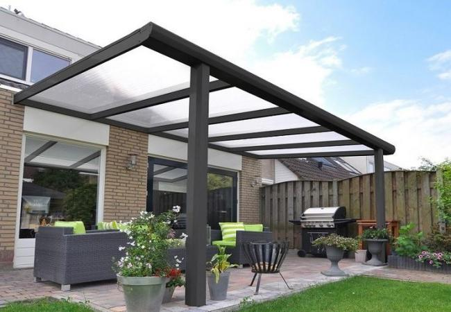 Stylish gazebo attached to the house