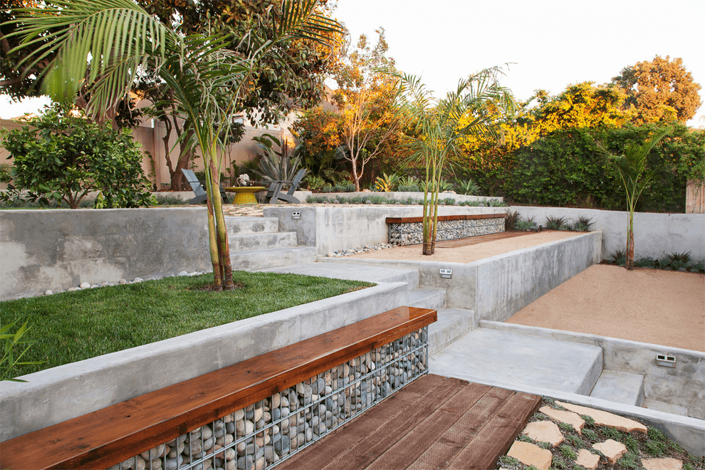 The use of gabion structures to create garden benches